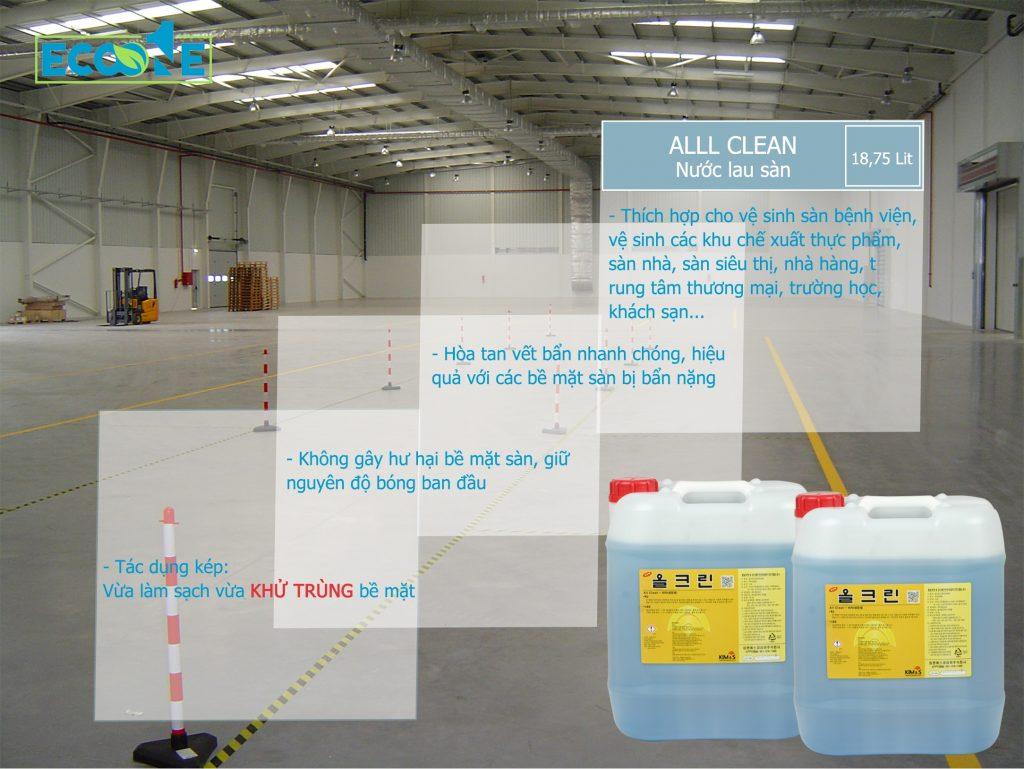 Chất tẩy rửa, lau sàn đa năng, làm sạch sàn vệ sinh sàn công nghiệp – ALL CLEAN
